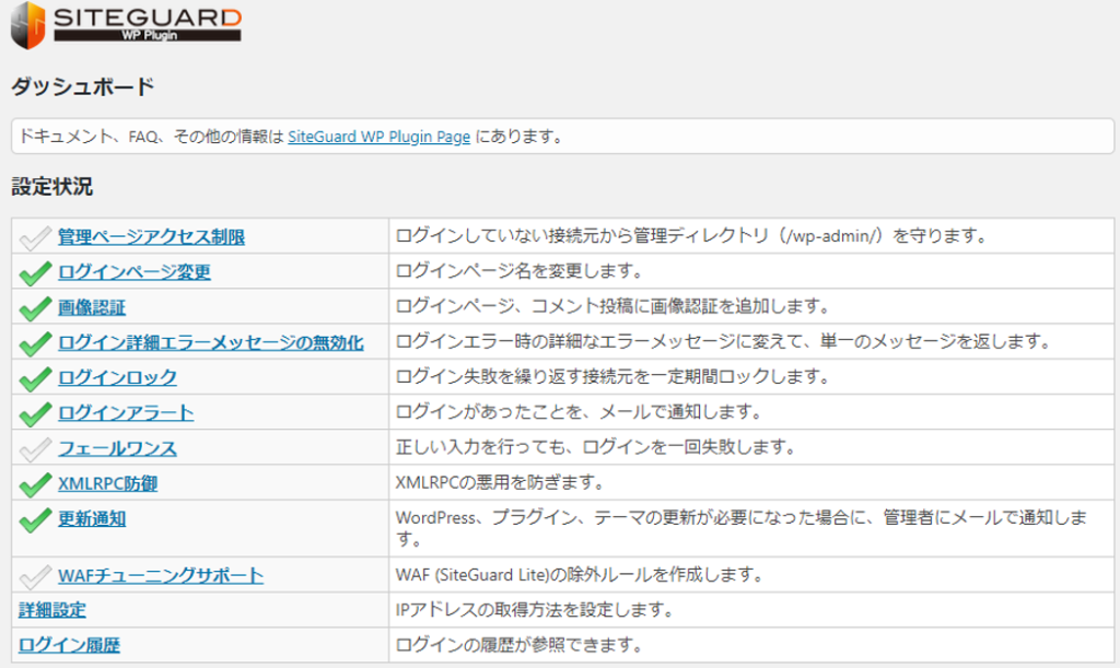 SiteGuard WP Plugin - ダッシュボード