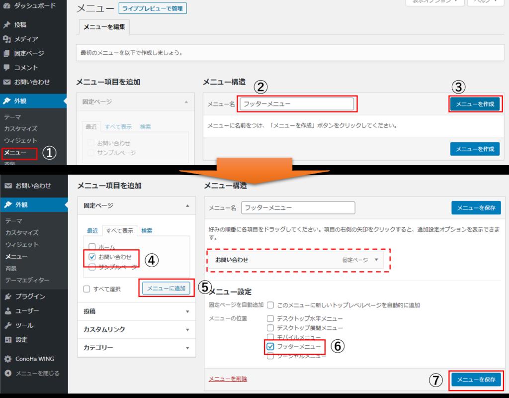 Contact Form 7 - フッターメニュー作成